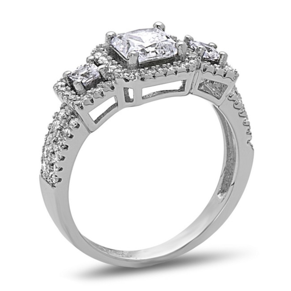Cushion Cut 3 Stones Engagement Anniversary Ring